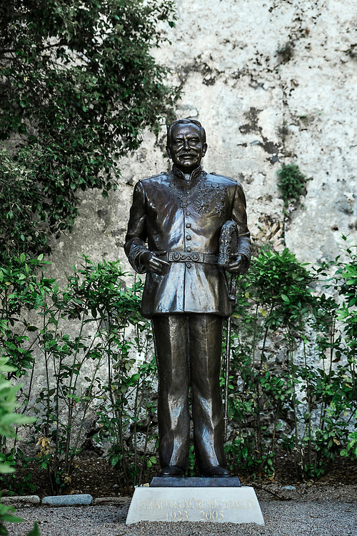 Prince Rainier III statue at the Place du Palais in Monaco.