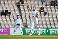Wicket - Kyle Abbott of Hampshire celebrates taking the wicket of Surrey's Rory Burns during the Specsavers County Champ Div 1 match between Hampshire County Cricket Club and Surrey County Cricket Club at the Ageas Bowl, Southampton, United Kingdom on 6 September 2017. Photo by Graham Hunt.