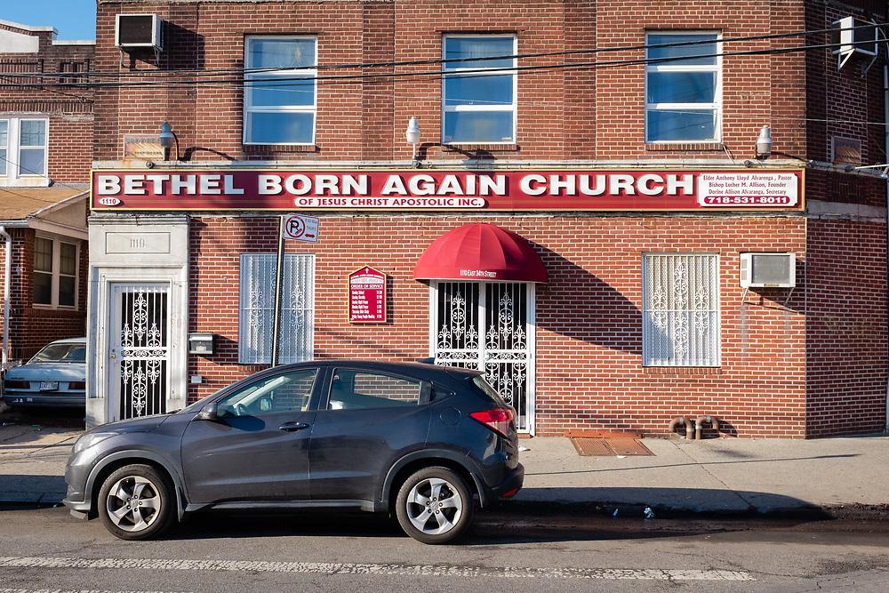 Bethel Born Again Church of Jesus Christ Apostolic, 1110 E 34th St., corner of Flatbush Avenue, Brooklyn.