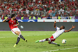 October 8, 2017 - Alexandria, Egypt - Egyptian Ahmed Hegazi hits the ball  during the World Cup 2018 Africa qualifying match between Egypt and Congo at the Borg el-Arab stadium in Alexandria on October 8, 2017.  Egypt won 2-1. (Credit Image: © Ahmed Awaad/NurPhoto via ZUMA Press)