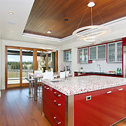 Modern Interior Kitchen with red metal cabinets