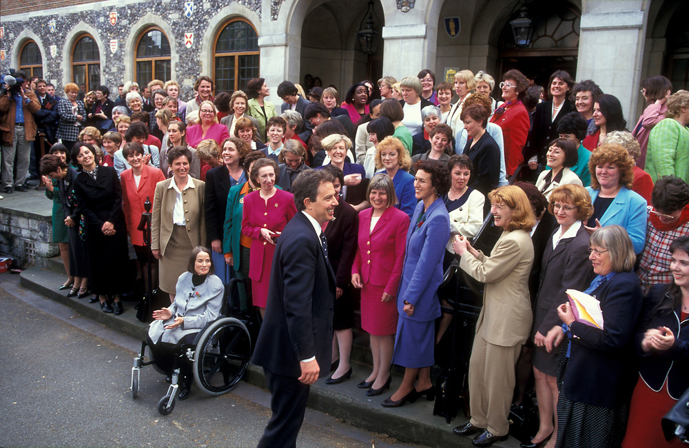 Tony Blair and 101 newly elected women Labour MP's after 1997 General Election