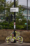 A white ghost bike near the spot where Stephanie Turner was hit and killed while cycling in 2015, taken on the 25th April 2020 in London, United Kingdom. Often painted entirely in white and locked to a fixed object as close to the accident site as possible, ghost bikes aim to act as both a memorial –they feature the name of the dead rider and other details, whether on a sign or painted to the frame – and a cautionary reminder for cyclists and drivers about what can happen when bike and vehicle come into contact.