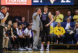 Mar 20, 2019; Morgantown, WV, USA; Grand Canyon Antelopes head coach Dan Majerle talks with Grand Canyon Antelopes center Alessandro Lever (25) during the first half against the West Virginia Mountaineers at WVU Coliseum. Mandatory Credit: Ben Queen