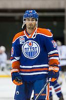 KELOWNA, CANADA - OCTOBER 2: Jordan Eberle #14 of the Edmonton Oilers warms up against the Los Angeles Kings on October 2, 2016 at Kal Tire Place in Vernon, British Columbia, Canada.  (Photo by Marissa Baecker/Shoot the Breeze)  *** Local Caption *** Jordan Eberle;