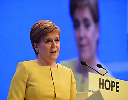 Pictured: SNP leader Nicola Sturgeon speaks to conference.<br /> <br /> The SNP held their spring conference at the EICC in Edinburgh, where independence and brevet were high on the agenda.<br /> <br /> © Dave Johnston / EEm