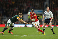 Alex Cuthbert of Wales running with the ball. Rugby World Cup 2015 quarter final match, South Africa v Wales at Twickenham Stadium in London, England  on Saturday 17th October 2015.<br /> pic by  John Patrick Fletcher, Andrew Orchard sports photography.