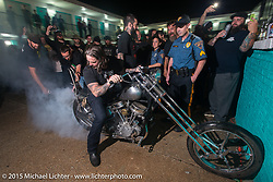 Buring out at the Harley-Davidson sponsored Friday evening party in the hotel parking lot before the Race of Gentlemen. Wildwood, NJ, USA. October 9, 2015.  Photography ©2015 Michael Lichter.