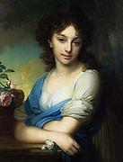 Elena Alexandrovna Naryshkina, 1799. Oil on canvas.  Vladimir Lukich Borovikovsky (1757–1825) Russian painter.  Portrait Female Three-quarter Frontal Youth Romantic Pearl Rose Pink White