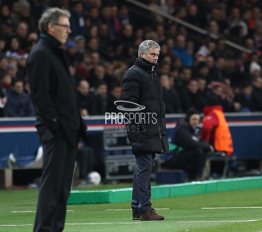 Chelsea Manager Jose Mourinho looks on  during the Champions League match between Paris Saint-Germain and Chelsea at Parc des Princes, Paris, France on 17 February 2015. Photo by Phil Duncan.