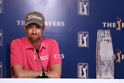 May 13, 2018 - Ponte Vedra Beach, Florida, United States - Webb Simpson speaks to the media with the trophy after winning The PLAYERS Championship at TPC Sawgrass. (Credit Image: © Debby Wong via ZUMA Wire)