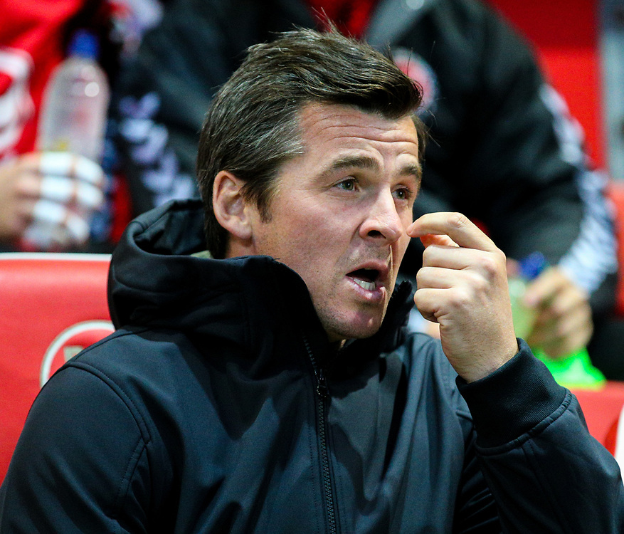 Fleetwood Town manager Joey Barton<br /> <br /> Photographer Alex Dodd/CameraSport<br /> <br /> The EFL Checkatrade Trophy - Northern Group B - Fleetwood Town v Leicester City U21 - Tuesday September 11th 2018 - Highbury Stadium - Fleetwood<br />  <br /> World Copyright © 2018 CameraSport. All rights reserved. 43 Linden Ave. Countesthorpe. Leicester. England. LE8 5PG - Tel: +44 (0) 116 277 4147 - admin@camerasport.com - www.camerasport.com
