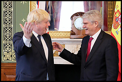 July 13, 2017 - London, London, United Kingdom - Image ©Licensed to i-Images Picture Agency. 13/07/2017. London, United Kingdom. Boris Johnson and Alfonso Dastis. .Boris Johnson, Secretary of State for Foreign and Commonwealth Affairs meets Alfonso Dastis Minister of Foreign Affairs and Cooperation of Spain in Foreign & Commonwealth Office. Alfonso Dastis accompaining His Majesty King Felipe VI of Spain on a three day state visit to the UK.Picture by Dinendra Haria / i-Images (Credit Image: © Dinendra Haria/i-Images via ZUMA Press)