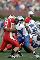 16 September 2006: Tristan Burge wraps up Tom Nelson on a kick return. The Eastern Illinois Panthers and The Illinois State Redbirds have a long standing rivalry. This years competition commenced at Hancock Stadium on the campus of Illinois State University in Normal Illinois.