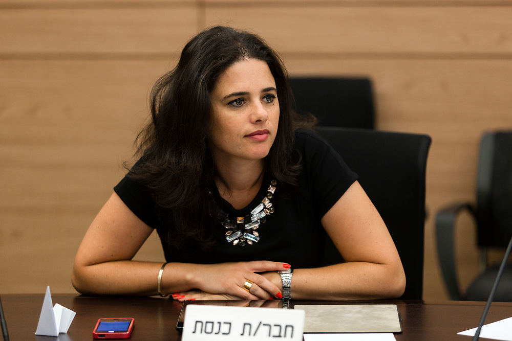 Israeli Minister of Justice Ayelet Shaked at the Knesset, Israel's Parliament in Jerusalem, on July 7, 2014.