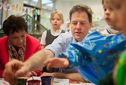 LNP Weekly Highlights 02/05/14. FILE PICTURE. © Licensed to London News Pictures. 01/05/2014. Surbiton, UK. Nick Clegg paints a picture with children. Deputy Prime Minister Nick Clegg visits Lime Tree Primary School in Surbiton today 1st May 2014. Whilst there he took part in a painting, phonics and maths projects with school children. Photo credit : Stephen Simpson/LNP