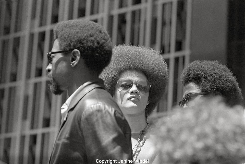Kathleen Cleaver talking at Free Huey Newton rally at Federal Building in San Francisco Federal building California on Mayday 1969