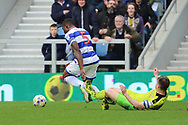 Queens Park Rangers defender Nedum Onuoha (5) dribbling into the box during the EFL Sky Bet Championship match between Queens Park Rangers and Rotherham United at the Loftus Road Stadium, London, England on 18 March 2017. Photo by Matthew Redman.