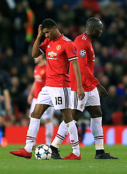 Manchester United's Marcus Rashford and Romelu Lukaku appears dejected after CSKA Moscow's Alan Dzagoev scores his side's first goal of the game