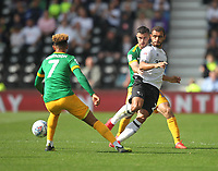 Preston North End's Ryan Ledson battles with  Derby County's Mason Bennett<br /> <br /> Photographer Mick Walker/CameraSport<br /> <br /> The EFL Sky Bet Championship - Derby County v Preston North End - Saturday August 25th 2018 - Pride Park - Derby<br /> <br /> World Copyright © 2018 CameraSport. All rights reserved. 43 Linden Ave. Countesthorpe. Leicester. England. LE8 5PG - Tel: +44 (0) 116 277 4147 - admin@camerasport.com - www.camerasport.com