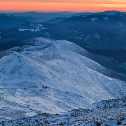 Sunset from Mount Washington in New Hampshire's White Mountains. The Southern Presidentials. WInter.