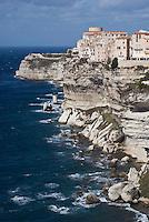 Bonifacio,  limestone coastline<br /> France: Corsica, Bonifacio (most southerly town in Corsica and port for the Lavezzi Islands, which lie 10 km South East)