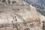 Soil erosion on a massive scale in Yellowstone National Park, Wyoming. These calcite cliffs are visibly eroding and trees struggling for survival.