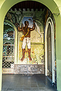 A scene from the mural A Continuous Revolution showing a slave breaking his chains by artist Melchor Peredo painted in 1947 in the arcade of the Veracruz State Governors Offices on the Plaza Lerdo at the historic center of Xalapa, Veracruz, Mexico.