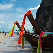 Longtail boats on Railay Beach in Krabi, Thailand