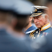 HRH Prince Charles. The Duke of Rothesay stands by the Cenotaph in George Square, Glasgow during the commemoration of the centenary of the start of World War 1.<br /> Monday 4/ 08/ 2014