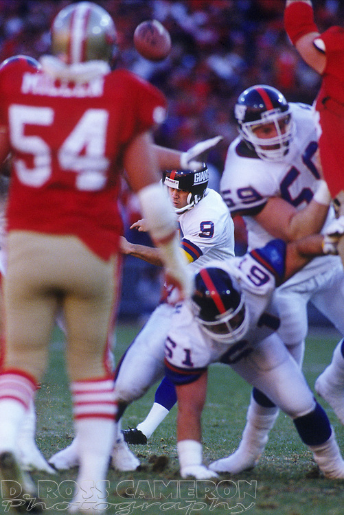 New York Giants kicker Matt Bahr (9) follows through on his 46-yard field goal to beat the San Francisco 49ers in the NFC champion game, in the fourth quarter of an NFL football game, Sunday, Jan. 20, 1991 at Candlestick Park in San Francisco. The Giants won, 15-13 and now move on to the Super Bowl against the Buffalo Bills. (Photo by D. Ross Cameron)