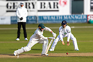 Callum Parkinson batting during Day 3 of the LV= Insurance County Championship match between Leicestershire County Cricket Club and Hampshire County Cricket Club at the Uptonsteel County Ground, Leicester, United Kingdom on 10 April 2021.