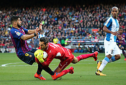 March 30, 2019 - Barcelona, Catalonia, Spain - Luis Suarez and Diego Lopez during the match between FC Barcelona and RCD Espanyol, corresponding to the week 29 of the Liga Santander, played at the Camp Nou Stadium, on 30th March 2019, in Barcelona, Spain. (Credit Image: © Joan Valls/NurPhoto via ZUMA Press)