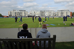 Fans look on as Gloucestershire Cricket warm up - Photo mandatory by-line: Dougie Allward/JMP - Mobile: 07966 386802 - 15/05/2015 - SPORT - Cricket - Bristol - Bristol County Ground - Gloucestershire County Cricket v Middlesex County Cricket - NatWest T20 Blast