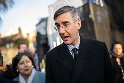 © Licensed to London News Pictures. 13/12/2018. London, UK. Jacob Rees-Mogg MP speaks to media on College Green. Yesterday, British Prime Minister Theresa May won the backing of her party to stay on as Prime Minister, following a vote of no confidence.  Photo credit : Tom Nicholson/LNP