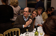 Alain de Botton, supper at the Groucho club after Bryan Wallick debut concert at Wigmore Hall, 25/9/03 © Copyright Photograph by Dafydd Jones 66 Stockwell Park Rd. London SW9 0DA Tel 020 7733 0108 www.dafjones.com