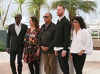Directors Mahamat-Saleh Haroun, Noemie Lvovsky, Abbas Kiarostami, Joachim Trier and Daniela Thomas at the photo call for the Cinéfondation at the 67th Cannes Film Festival, Thursday 22nd May 2014, Cannes, France.