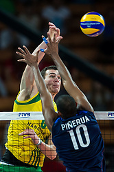 07.09.2014, Jahrhunderthalle, Breslau, POL, FIVB WM, Australien vs Venezuela, Gruppe A, im Bild Polska Wroclaw 07 09 2014 - Thomas Edgar australia #6 Kervin Pinerua venezuela #10 // during the FIVB Volleyball Men's World Championships Pool A Match beween Australia and Venezuela at the Jahrhunderthalle in Breslau, Poland on 2014/09/07<br /> <br /> ***NETHERLANDS ONLY***