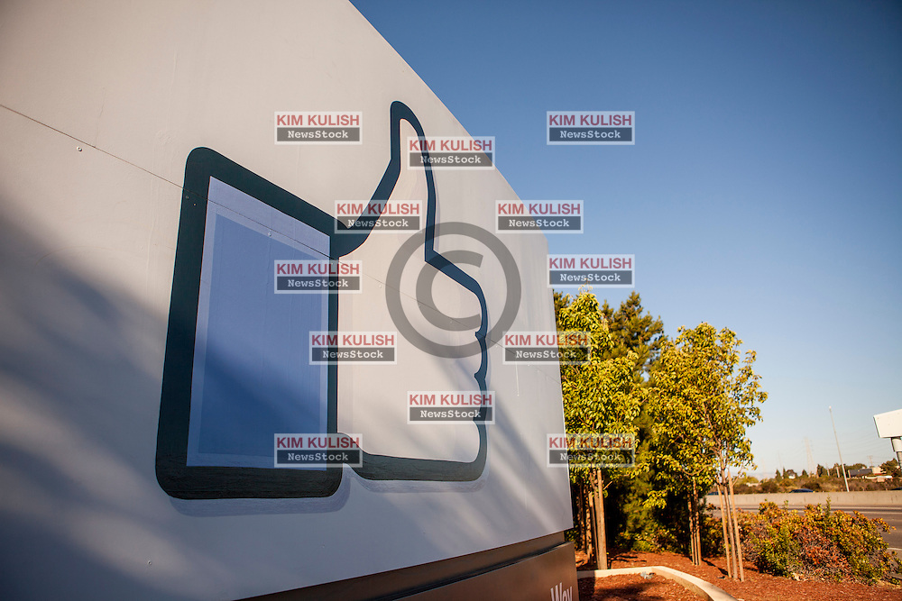 """Scenes of daily work and life at Facebook', Inc. USA Headquarters in Menlo Park, California.  The """"Like"""" Facebook sign."""