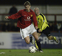 Fotball<br /> Manchester United v Aston Villa<br /> Reserves game at Altrincham.<br /> 05/02/2004.<br /> Ole Gunnar Solskjær back in action<br /> <br /> Foto: Digitalsport