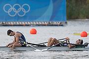 "Rio de Janeiro. BRAZIL. GBR LM2X. Bow William FLETCHER and Richard CHAMBERS in Semi final A/B.  ""The dream busted"" 2016 Olympic Rowing Regatta. Lagoa Stadium,<br /> Copacabana,  ""Olympic Summer Games""<br /> Rodrigo de Freitas Lagoon, Lagoa.   Thursday  11/08/2016 <br /> <br /> [Mandatory Credit; Peter SPURRIER/Intersport Images]"