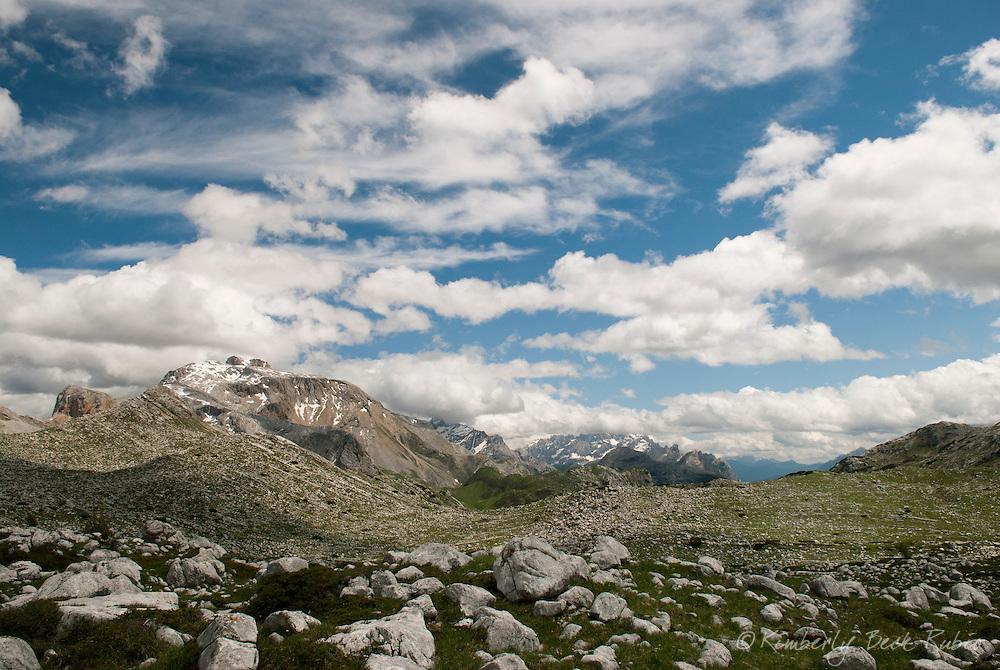 Summer in the Dolomite Mountains, north of Cortina d'Ampezzo, Italy. Lunar landscape near Rifugio Biella, in the Natural Park of the Ampezzo Dolomites.