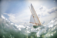 The 1929 built yawl, Dorade, from the USA pictured on the Solent at the start of the Rolex Fastnet Race on the Isle of Wight. The Olin Stephens designed yacht won the race in 1931.<br /> Picture date: Sunday August 16, 2015.<br /> Photograph by Christopher Ison ©<br /> 07544044177<br /> chris@christopherison.com<br /> www.christopherison.com