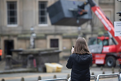 © Licensed to London News Pictures. 09/10/2020. Liverpool, UK. Film crew prepare St George's Hall in Liverpool filming location for weekend shoots for the Batman film starring Robert Pattinson as Batman. Photo credit: Kerry Elsworth/LNP