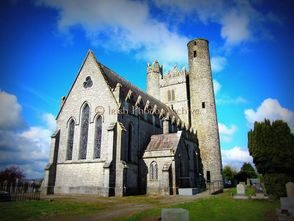 St Macculin's Church, Lusk, Co.Dublin, c.9th round tower, c.15th keep, c.19th church