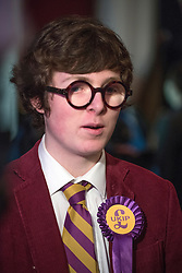 © Licensed to London News Pictures. 27/02/2015. Margate, UK . A delegate at the conference. The UKIP spring conference at Margate Winter Gardens 27th February 2015. Photo credit : Stephen Simpson/LNP