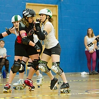 Swansea City Roller Derby's Slayers take on Manchester Roller Derby's Checkerbroads in the British Championships Womens Tier 2 Playoffs at Fenton Manor, Stoke-on-Trent, 2017-09-17
