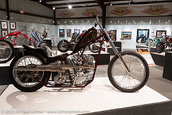 Jane Doe was built by Bare Knuckle Choppers' Paul Wideman in 2013. This sleek 1940 Harley-Davidson Knucklehead de-raked chopper could have easily been in my Skinny exhibition, but it fit equally well where you see it here in the Heavy Mettle - Motorcycles and Art with Moxie exhibition at the Sturgis Buffalo Chip. This is the 2020 iteration of the annual Motorcycles as Art series curated and produced by Michael Lichter. Sturgis, SD, USA. Friday, August 7, 2020. Photography ©2020 Michael Lichter.