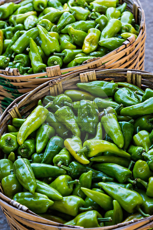 Fresh cubanelle peppers at Benito Juarez market in Oaxaca, Mexico.