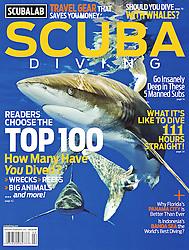 Scuba Diving Magazine, January / February 2011, magazine cover use, USA, Image ID: Oceanic-Whitetip-Shark-0064-V